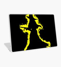 Evil halloween yellow and black silhouette Laptop Skin