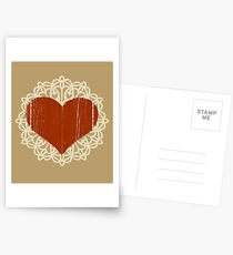 Lace And Heart. Distressed Lace, Wooden Heart. Love, Cute. Postcards