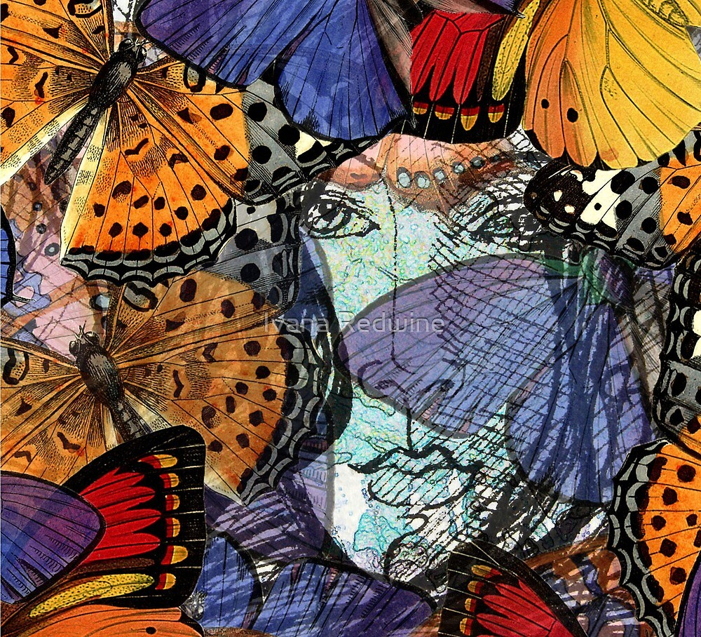 Face Framed by Butterflies by Ivana Redwine