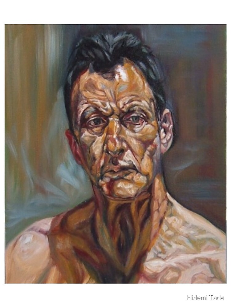 self-portrait after Lucian freud  by hidemitadajp