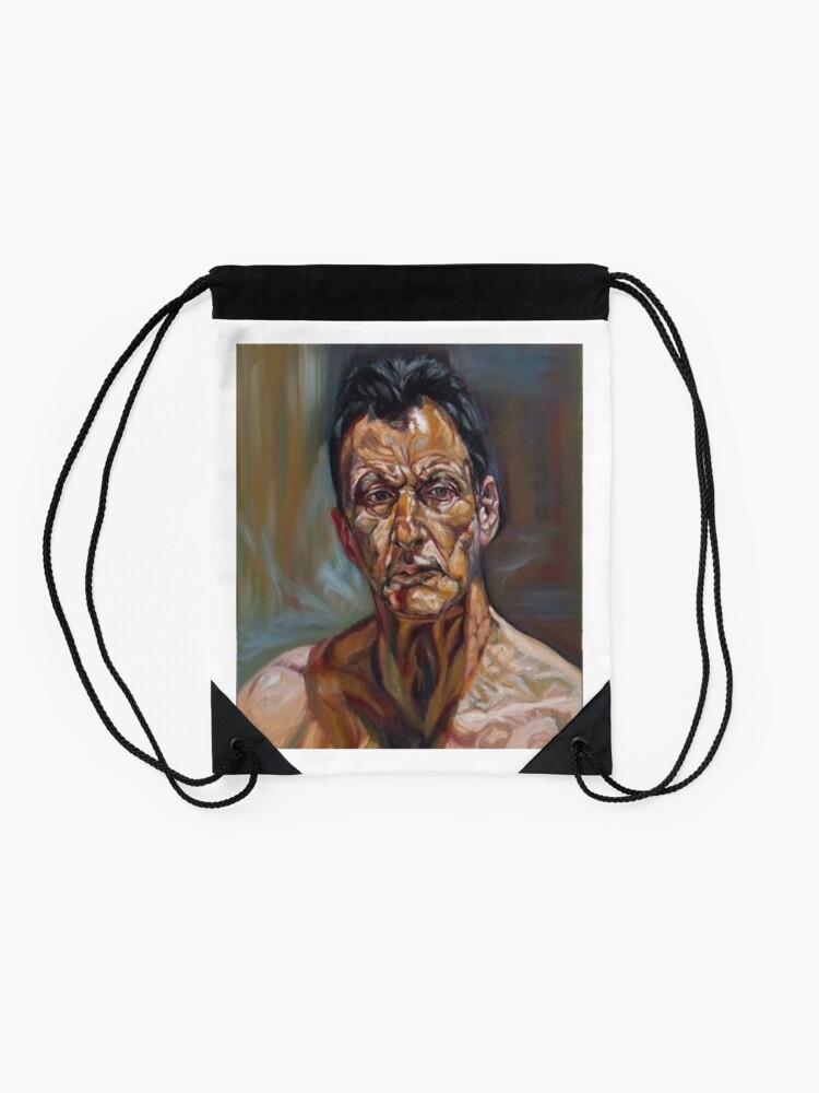 Alternate view of self-portrait after Lucian freud  Drawstring Bag