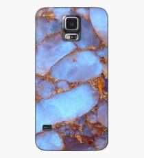 Blauer Quarz und Gold Hülle & Klebefolie für Samsung Galaxy