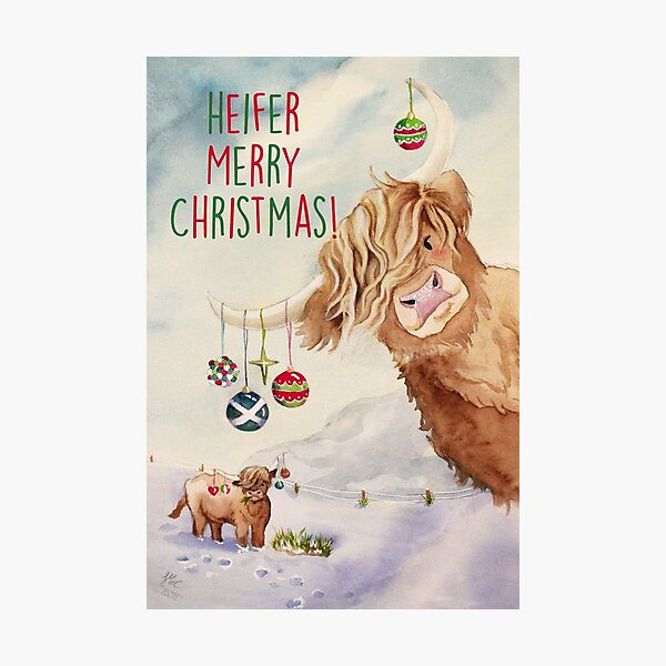 Heifer Merry Christmas! Photographic Print