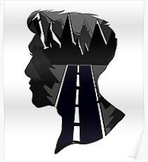 Geometric Mountain Silhouette Male Poster