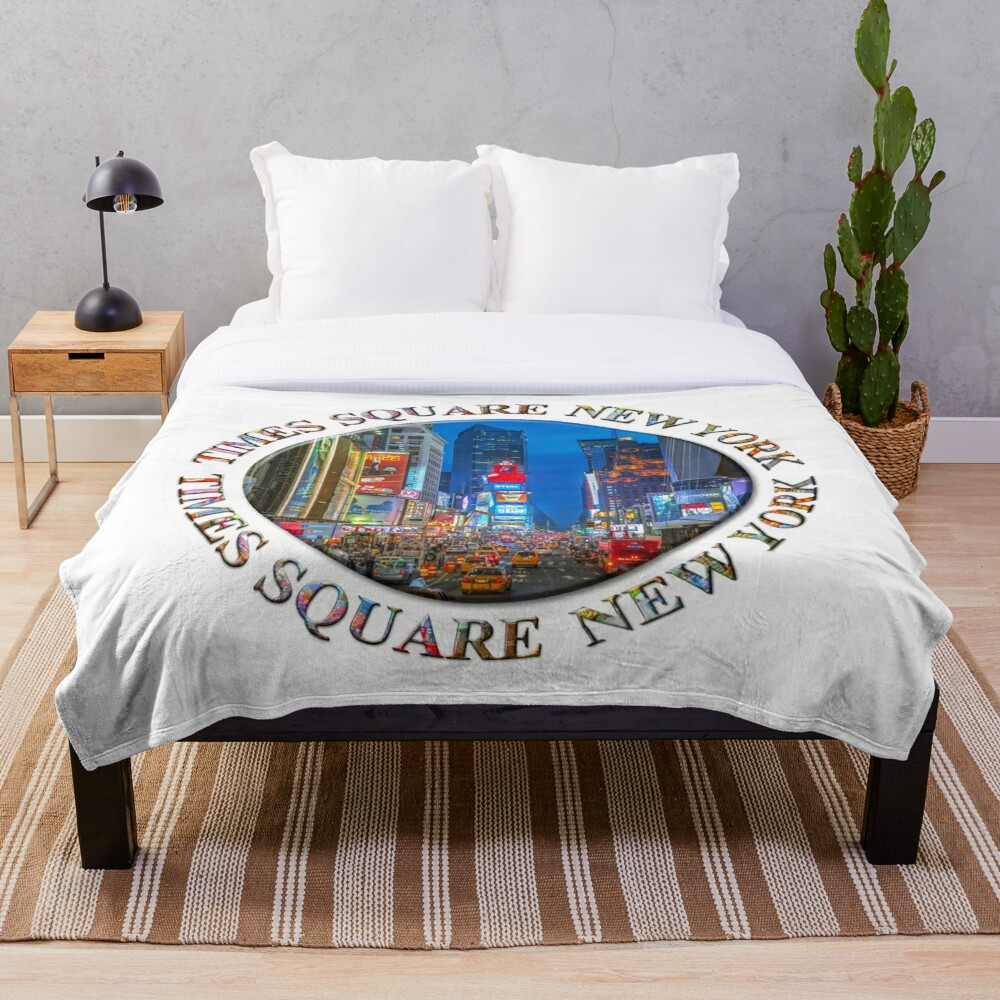 Times Square Broadway (New York Badge Emblem on white) Throw Blanket