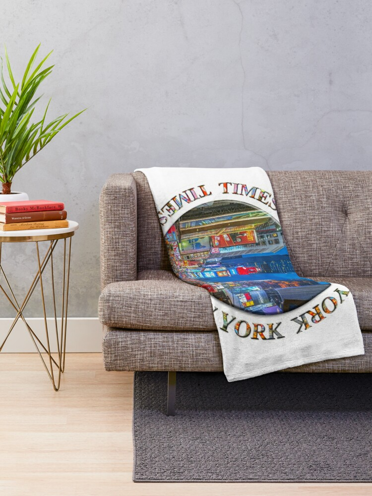 Alternate view of Times Square Broadway (New York Badge Emblem on white) Throw Blanket