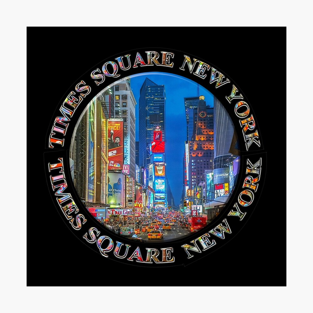 Times Square New York Badge Emblem (on black) Photographic Print