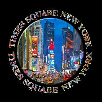 Times Square New York Badge Emblem (on black) by RayW