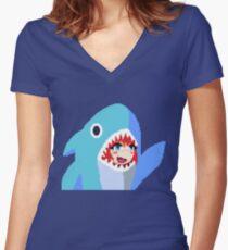 Shark Girl Pixel Art Fitted V-Neck T-Shirt