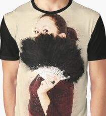 Digitally enhanced image of a young Gothic teen hiding behind a black feathered fan  Graphic T-Shirt