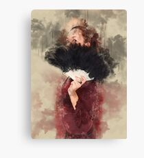 Digitally enhanced image of a young Gothic teen hiding behind a black feathered fan Canvas Print