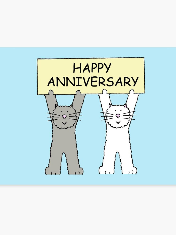 Feliz Aniversario De Dibujos Animados De Gatos Lienzo