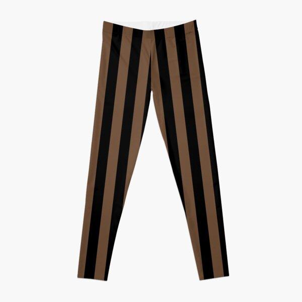Coffee Brown and Black Vertical Stripes Leggings
