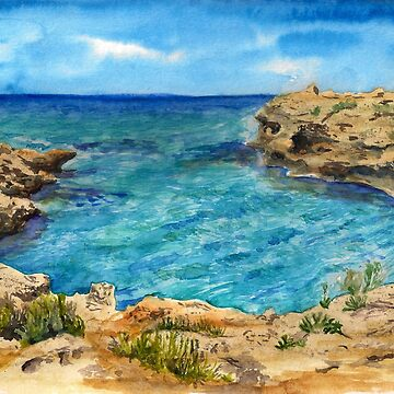 Watercolor sea of Cyprus by Shoshina