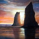 The Needles, Cannon Beach Oregon Pastel by Chriss Pagani