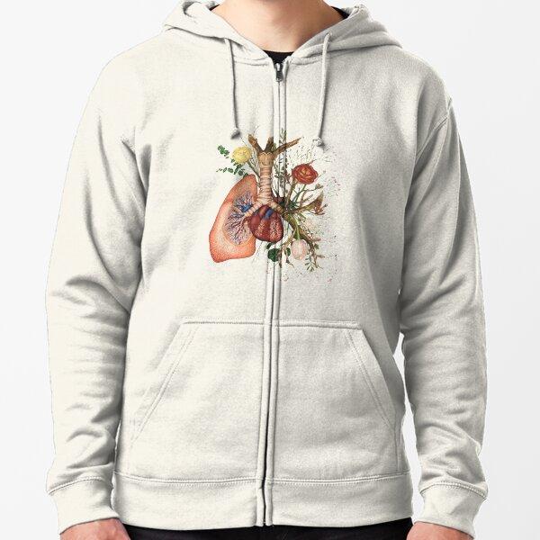 ♡ flower lung ♡ Zipped Hoodie
