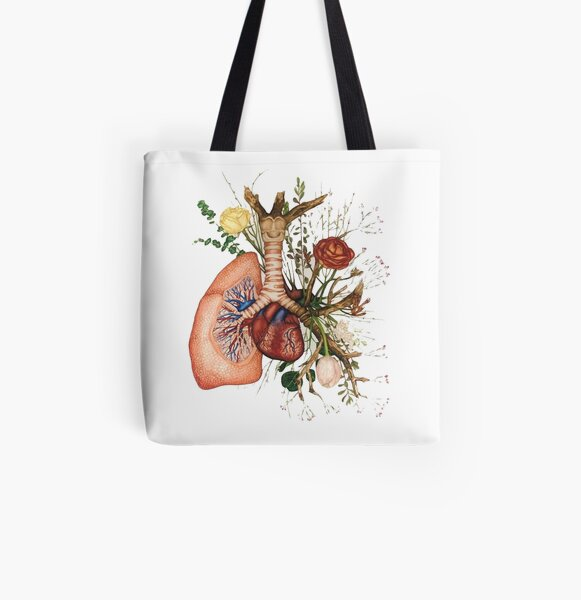 ♡ flower lung ♡ All Over Print Tote Bag