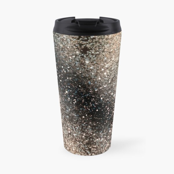Sparkling GOLD BLACK Lady Glitter #3 #decor #art Travel Mug