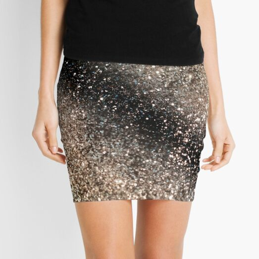 Sparkling GOLD BLACK Lady Glitter # 3 (Brillo sintético) #decor #art Minifalda