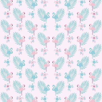 Pretty Pastel Flamingo Chevron Pattern - Pink and Blue  by Dominiquevari