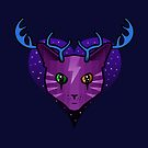 Purple Space Cat (Antlers) by jezkemp