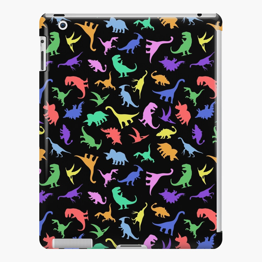 Fun Dinosaur Pattern (Black Background) iPad Case & Skin