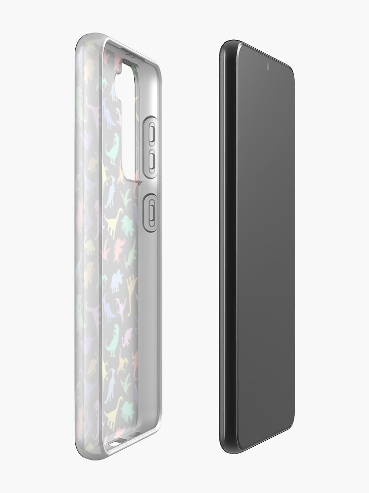Alternate view of Fun Dinosaur Pattern (Black Background) Case & Skin for Samsung Galaxy