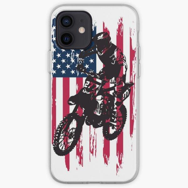 Vintage American Patriotic Dirt Bike Motocross Drapeau Américain Coque souple iPhone