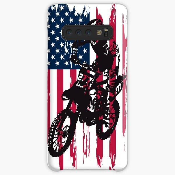 Vintage Patriotic Dirt Bike Motocross USA American Flag Samsung Galaxy Snap Case