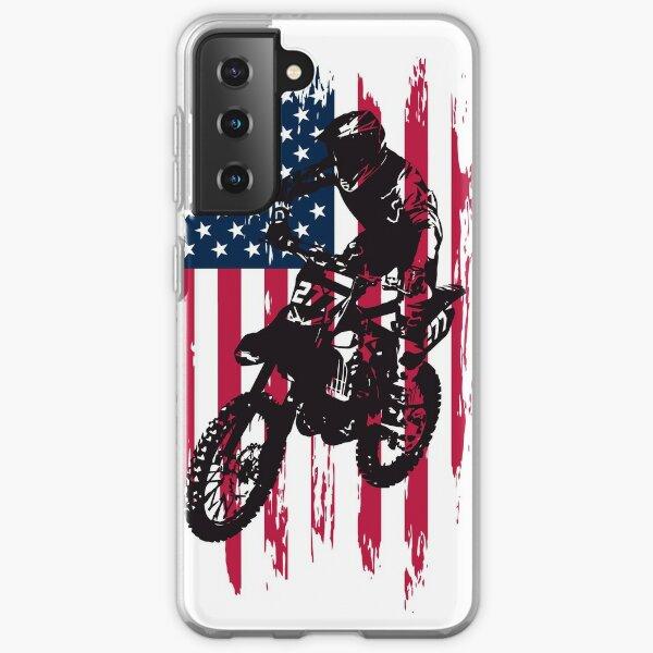Vintage Patriotic Dirt Bike Motocross USA American Flag Samsung Galaxy Soft Case
