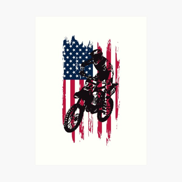Vintage Patriotic Dirt Bike Motocross USA American Flag Art Print