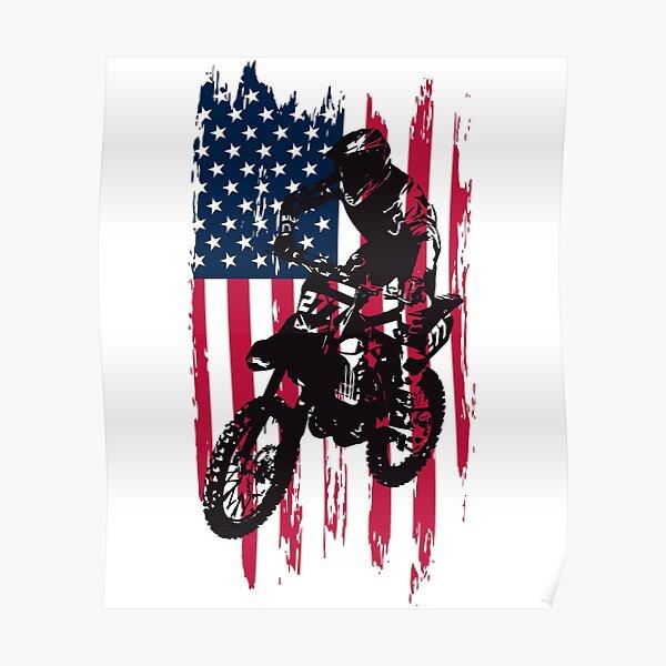 Vintage Patriotic Dirt Bike Motocross USA American Flag Poster