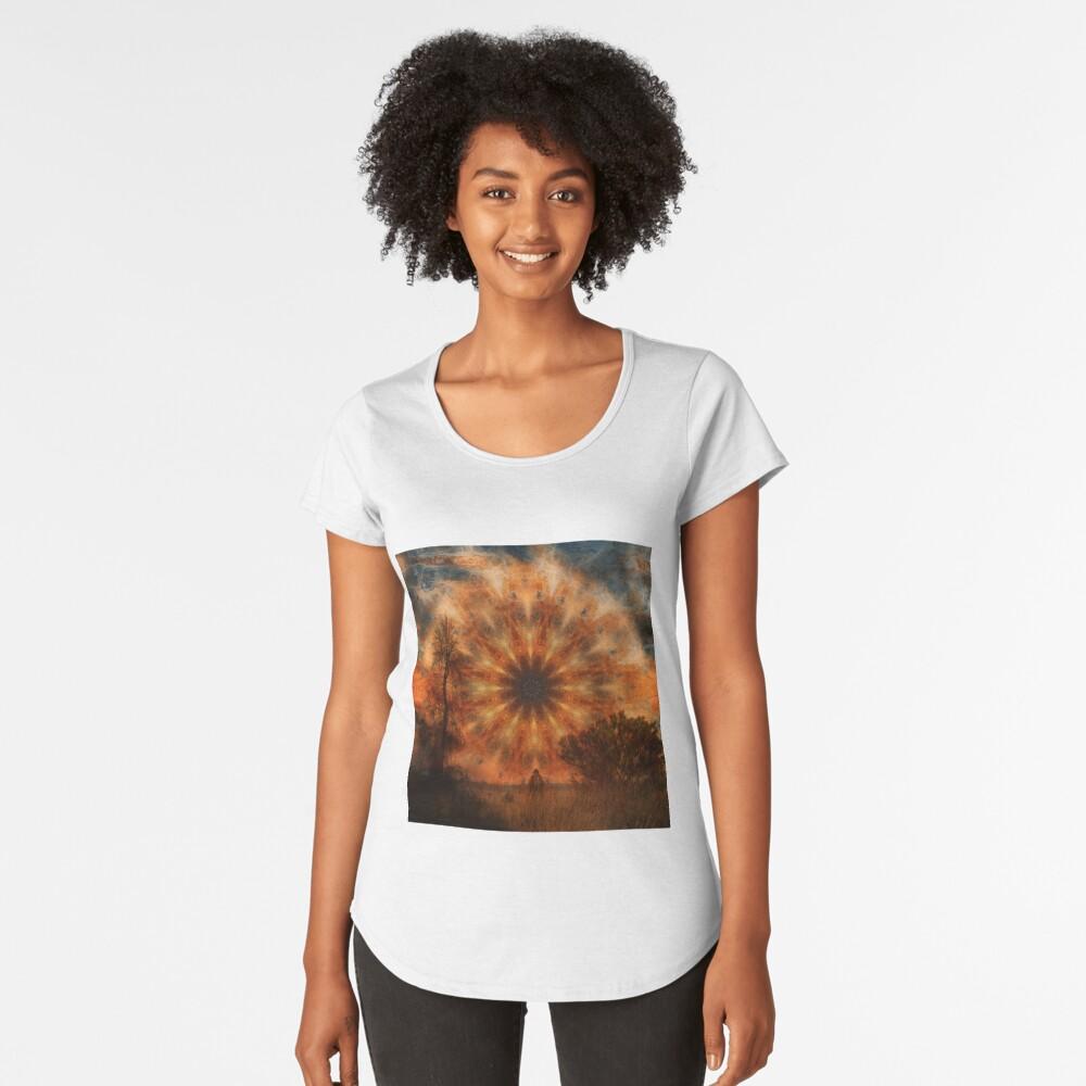 Surreal landscape in corrugated iron mandala Women's Premium T-Shirt Front