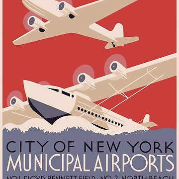 Vintage New York Municipal Airports Poster by G-Design