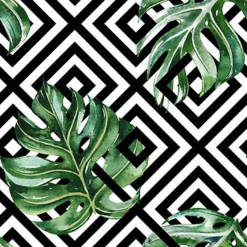 Stylish Greenery Pattern Black and White by junkydotcom