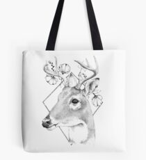 Deer with flowers, black and white Tote Bag
