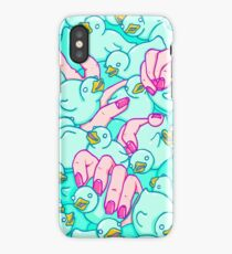 Rubber ducks pool - pop surreal psychedelic pattern surrealist creepy sexy art illustration pink blue iPhone Case