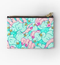 Rubber ducks pool - pop surreal psychedelic pattern surrealist creepy sexy art illustration pink blue Studio Pouch