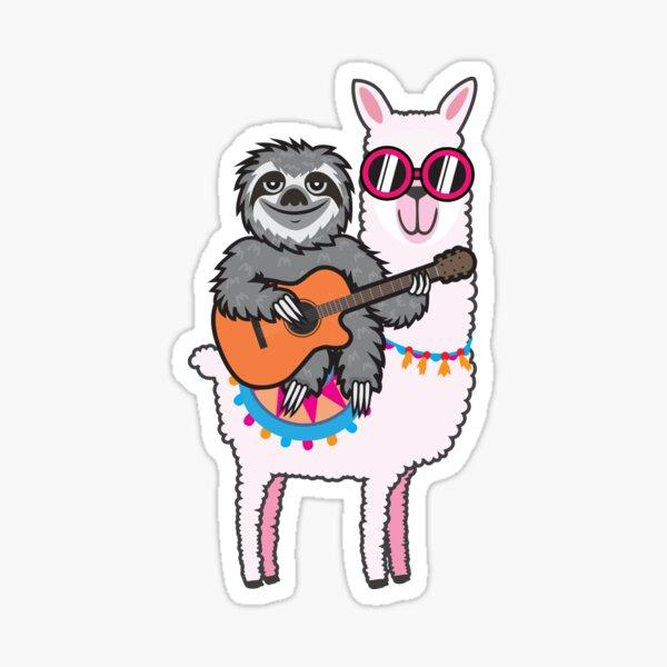 Sloth guitar llama Sticker