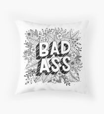 Badass Floral Lettering Throw Pillow
