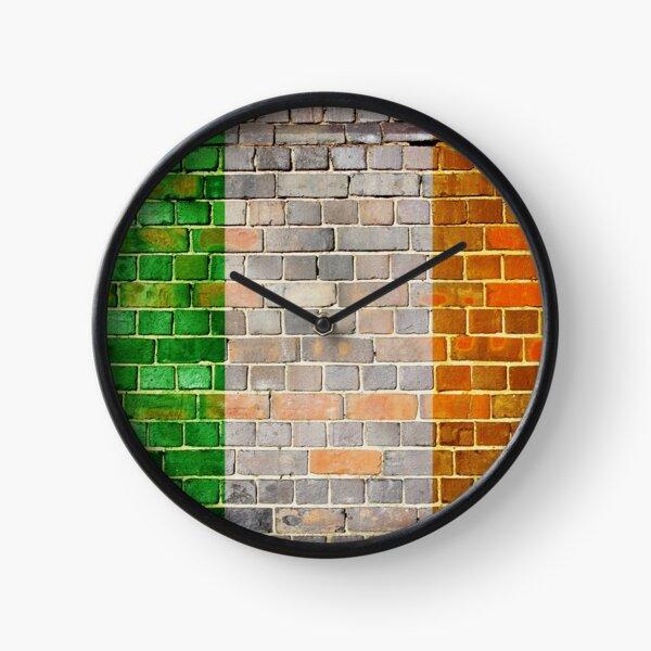 Ireland flag on an old brick wall  Clock