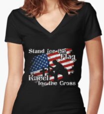Stand for the Flag Kneel for the Cross T-Shirt Women's Fitted V-Neck T-Shirt