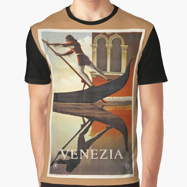 Vintage Venice Italy travel advert, gondola Graphic T-Shirt