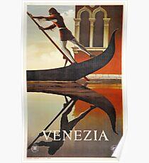 Vintage Venice Italy travel advert, gondola Poster