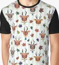 Fall deer and leaves pattern Graphic T-Shirt