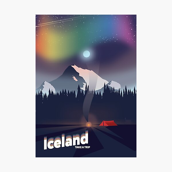 Iceland Northern lights travel poster. Photographic Print
