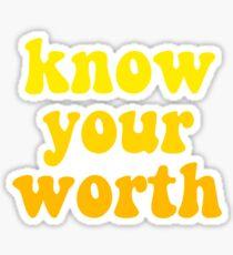 yellow know your worth sticker Sticker