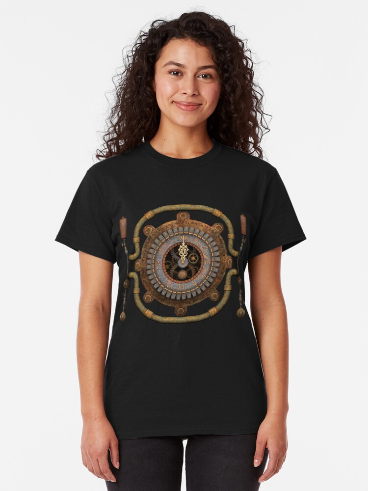 Alternate view of Steampunk Vintage Clock, Pipes and 'Stuff' Classic T-Shirt
