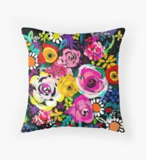 Les Fleurs Vibrant Floral Painting Print Throw Pillow