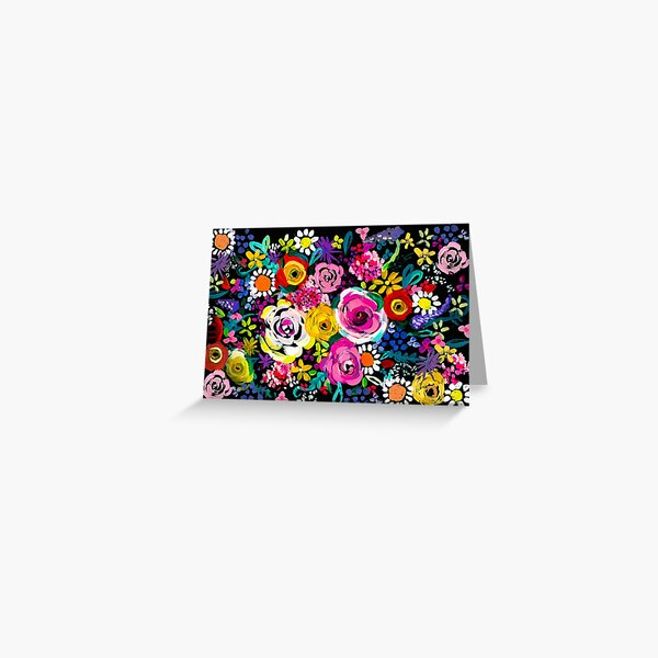 Les Fleurs Vibrant Floral Painting Print Greeting Card